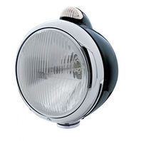 "Black ""Guide"" H4 Halogen Headlight W Amber LED Top Light - Clear Lens"