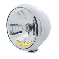 """UPI 32034 Stainless """"GUIDE"""" Headlight w/ No Turn Signal - 10 LED Crystal H4 Bulb"""
