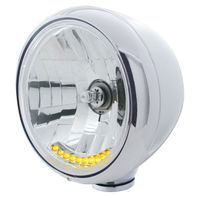 """Chrome 7"""" Guide Headlight, Crystal Lens, With H-4 Halogen Bulb & 10 AMBER LED'S"""