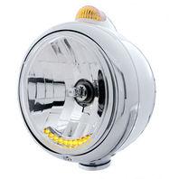 """Chrome """"GUIDE"""" Headlight 10 LED Crystal H4 Bulb & Amber LED/Amber Lens UPI 32040"""