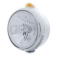 UPI 32396 Stainless  Guide  Headlight - Crystal H4 Bulb w/ Amber LED & Lens