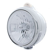 """UPI 32397 Stainless """"GUIDE"""" Headlight - Crystal H4 Bulb w/ Amber LED/Clear Lens"""