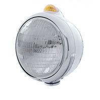 UPI 32400 Chrome  GUIDE  Headlight - 6014 Bulb w/2 Function Amber LED/Amber Lens
