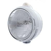 UPI 32401 Chrome  GUIDE  Headlight - 6014 Bulb w/2 Function Amber LED/Clear Lens