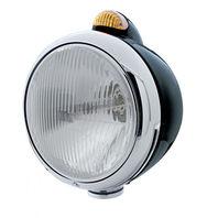 UPI 32414 Black  GUIDE  Headlight - H4 Bulb w/Dual Function Amber LED/Amber Lens