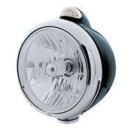 "UPI 32417 Black ""GUIDE""  Headlight - Crystal H4 Bulb w/ Amber LED/Clear Lens"