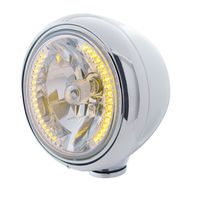 """UPI 32418 Stainless """"GUIDE"""" Headlight w No Turn Signal - 34 Amber LED w/ H4 Bulb"""