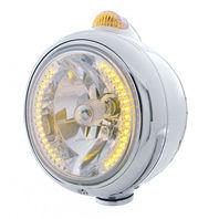 """UPI 32426 Chrome """"GUIDE""""  Headlight - 34 Amber LED H4 Bulb w/ Amber LED & Lens"""