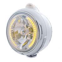 UPI 32427 Chrome  GUIDE  Headlight - 34 Amber LED H4 Bulb w/Amber LED/Clear Lens