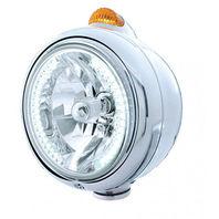 UPI 32438 Chrome  Guide  Headlight - 34 White LED H4 Bulb w/Amber LED/Amber Lens