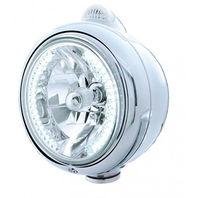 UPI 32439 Chrome  Guide  Headlight - 34 White LED H4 Bulb w/Amber LED/Clear Lens