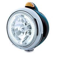 """UPI 32442 Black """"GUIDE""""  Headlight - 34 White LED H4 Bulb w/ Amber LED & Lens"""