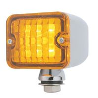6 Amber LED Medium Rectangular Chrome Rod Light w Amber Lens - 12V - Hot Rat Rod