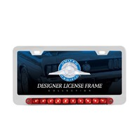 Chrome Deluxe Red LED License Plate Frame - Split Turn Function