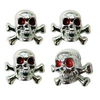 Chrome Skull w/ Crossbones, Red Eyes, Valve Stem Caps, Standard Fit, Set of 4