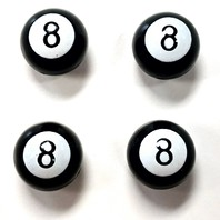 Black POOL 8 BALL Valve Caps For Tires and Wheels, Standard Fit, Set of 4