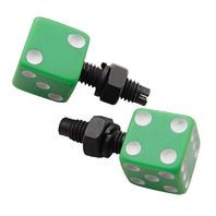 Green Dice w/ White Dots License Plate Fasteners, Set of 2, Rat Rod, Gasser