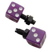 Purple Dice w/ White Dots License Plate Fasteners, Set of 2, Rat Rod, Gasser
