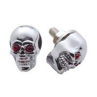 Chrome Die Cast Skull W/ Jewel Eyes License Plate Fasteners, Set of 2, Hot Rod