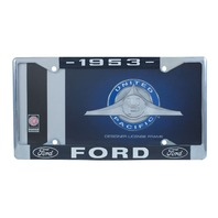 1953 Ford License Plate Frame Chrome Finish with Blue and White Script