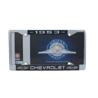 1953 Chevy Chrome License Plate Frame with Chevrolet Bowtie Blue / White Script