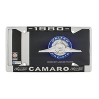 """1980 Chevy """"Camaro"""" Chrome License Plate Frame with Year and Chevrolet Bowtie"""