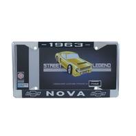 1963 Chevy Nova Chrome License Plate Frame with Blue and White Script
