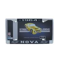 1964 Chevy Nova Chrome License Plate Frame with Blue and White Script