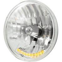 """7""""  Crystal Headlight With LED Auxiliary Light, Street Rod, Custom Car or Truck"""