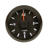 VW BUG AIR COOLED, VDO COCKPIT VISION BLACK ANALOG CLOCK 12V-2-1/16  370155