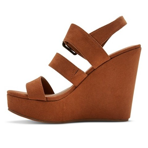 7c31c776f6d Mossimo Womens Brandi Suede Platform Wedge Ankle Strap Sandals Brown VARIOUS
