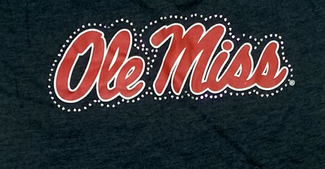 Women Ole Miss Rebels Football Logo T Shirt V Neck Short Sleeve Ash