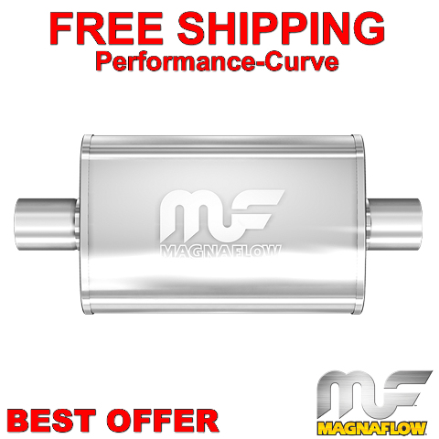 """MAGNAFLOW UNIVERSAL MUFFLER 13216 4/"""" x 9/"""" OVAL STAINLESS STEEL 2.5/"""" IN//OUT"""