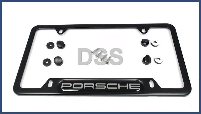 Genuine Porsche Black Stainless Steel License plate frame