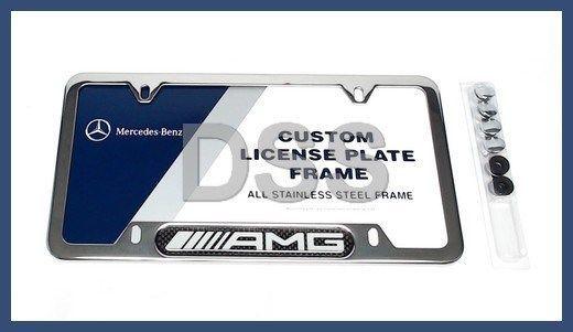 Genuine Mercedes Benz AMG Stainless Steel w/ Carbon Fiber License ...