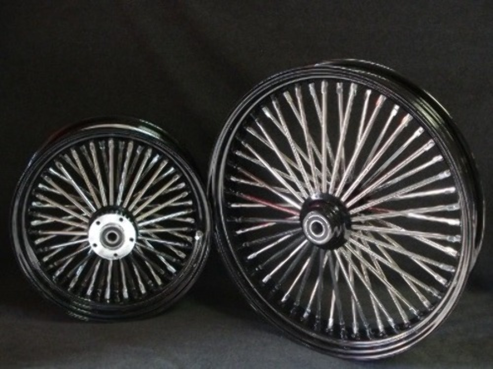 21X3 & 18X3.5 DNA MAMMOTH 52 SPOKE BLACK  WHEEL SET FOR HARLEY SOFTAIL & TOURING