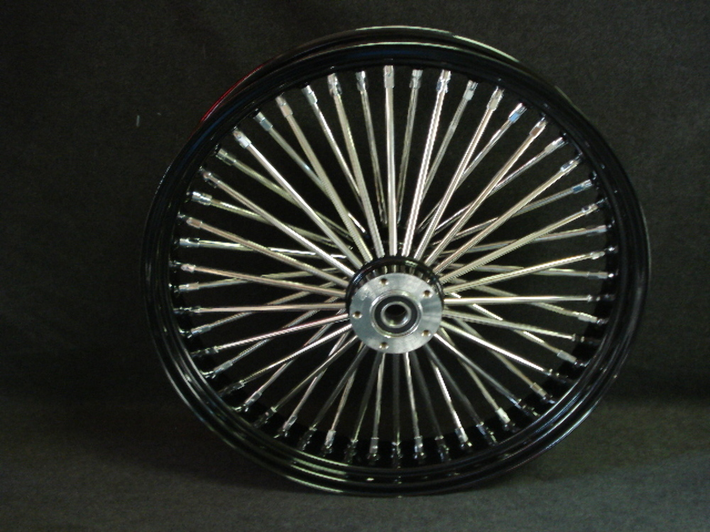 """21X3"""" BLACK DNA MAMMOTH 52 SPOKE SINGLE DISC  FRONT WHEEL FOR HARLEY TOURING"""
