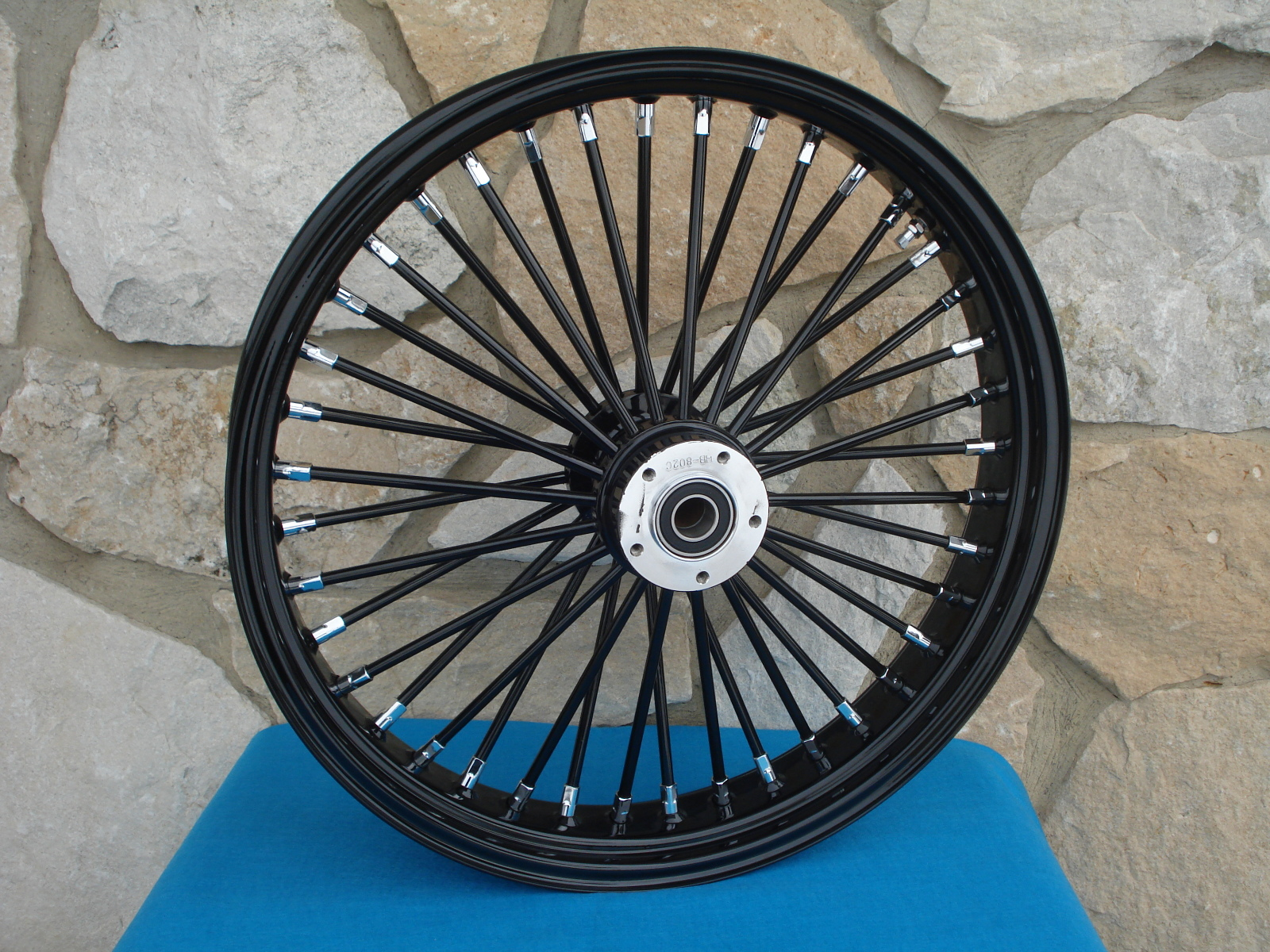 """21X3.5"""" DNA FAT SPOKE 00-07 BLACK OUT MAMMOTH  FRONT WHEEL HARLEY TOURING  D/D"""