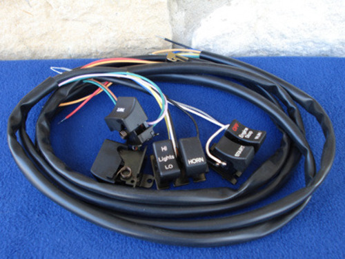 HANDLEBAR WIRING HARNESS W/BLACK SWITCHES FOR HARLEY | eBay on seat harness, ignition harness, headlight harness, gear harness, spark plug harness, tire harness,