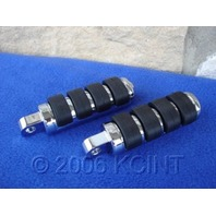 CHROME SPLIT RUBBER FOOT PEGS FOR HARLEY FOOT PEGS  CATS PAW  ISO STYLE FOOTPEGS