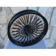 21X3.5 BLACK OUT FAT KING SPOKE FRONT WHEEL HARLEY 00-06 HERITAGE FAT BOY DELUXE