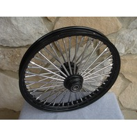 "21x2.15"" BLACK 48 FAT SPOKE S/D FRONT WHEEL HARLEY FXST 2000-07 FXDWG 2000-07"