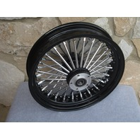 "16"" BLACK FAT 48 SPOKE REAR WHEEL HARLEY FLT ROAD STREET GLIDE TOURING 2008 ONLY"