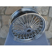 "18X5.5"" CHROME FAT SPOKE CUSH REAR WHEEL HARLEY TOURING 2009-UP FOR 180/200 TIRE"