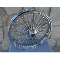 48 King Spoke Fat 23 X 3.5 Front Wheel Rim Touring Softail Chrome Single Disc