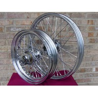 """FOR HARLEY DYNA SOFTAIL STD 40 SPOKE 21"""" FRONT 16"""" REAR CHROME WHEELS PARTS"""