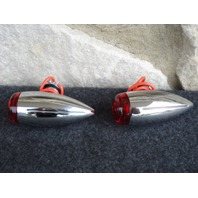 FOR HARLEY & CUSTOM CHOPPERS  MILLED MINI BULLET RED TURN SIGNALS  LIGHTS