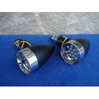 BLACK & CHROME LED TURN SIGNALS FOR HARLEY & RIGID SOFTAIL CHOPPER