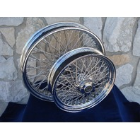 """21X3.5 & 16X3.5"""" 80 SPOKE KCINT DNA WHEELS 2000-06 HARLEY HERITAGE FATBOY DELUXE"""