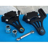 DNA SPRINGER BLACK LEFT FRONT & RIGHT REAR BRAKE CALIPERS FOR HARLEY CHOPPER